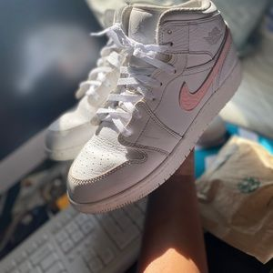 Pink and White Jordan 1 customized shoes